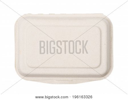 Top view Natural plant fiber food box isolated on white background paper box. Saved clipping path.