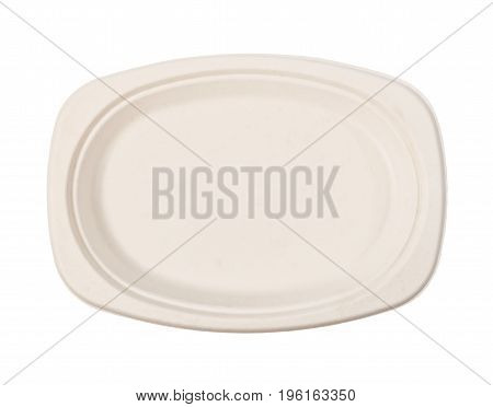 Top view Natural plant fiber food plate isolated on white background paper plate. Saved clipping path.