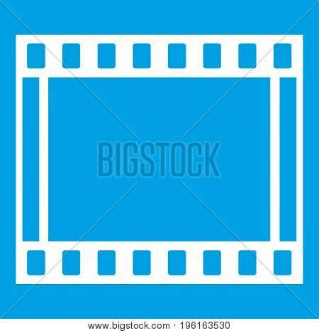 Film with frames movie icon white isolated on blue background vector illustration