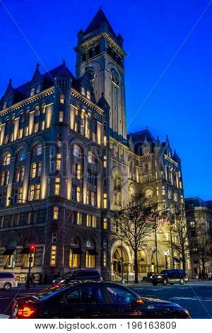 Washington Dc, Usa - December 29, 2016: Trump International Hotel And The Old Post Office Tower Duri