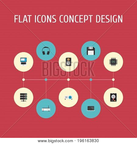 Flat Icons Diskette, Amplifier, Hard Disk And Other Vector Elements