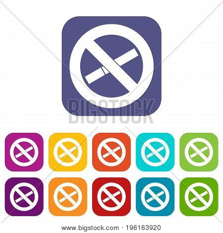 No smoking sign icons set vector illustration in flat style in colors red, blue, green, and other