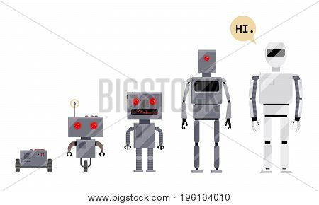 Evolution of robots, stages of android development, cartoon vector illustration isolated on white background. Evolution of robots from simple metal box machinery to modern android, cartoon style set