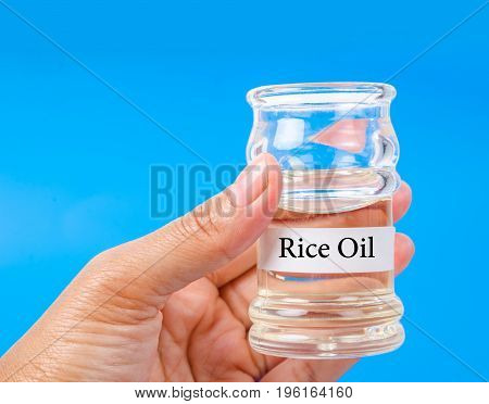 Hand holding Rice oil in a bottle on blue background