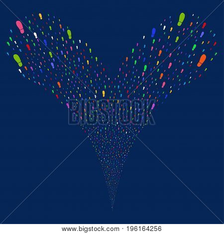 Boot Footprint source stream. Vector illustration style is flat bright multicolored iconic boot footprint symbols on a blue background. Object fountain created from random pictographs.