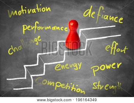 Game figure is climbing stairs. Concept for motivation, power and competition