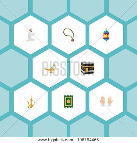Flat Icons Bead, Islamic Lamp, Praying Man And Other Vector Elements