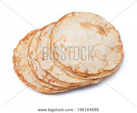 Stack of thin pancakes isolated on white background