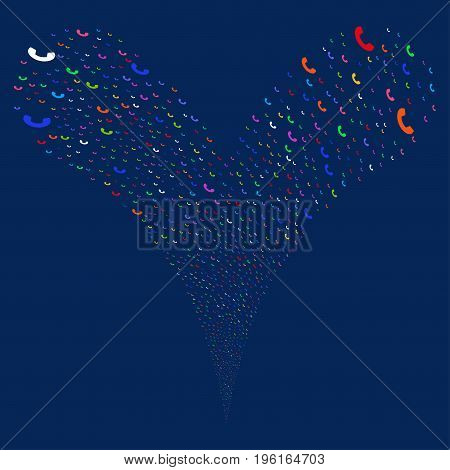 Call fireworks stream. Vector illustration style is flat bright multicolored iconic call symbols on a blue background. Object fountain organized from random icons.