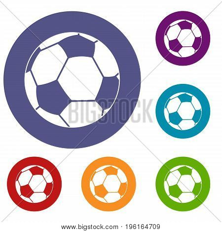 Football ball icons set in flat circle red, blue and green color for web