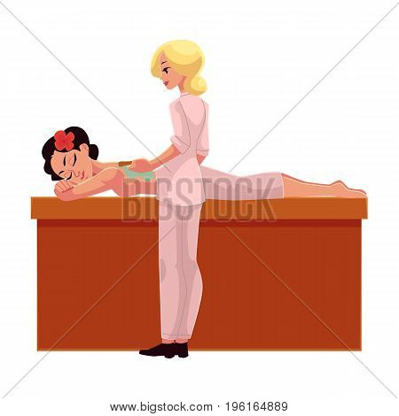 Cosmetician, beautician applying clay mask on young woman back, cartoon vector illustration on white background. Young woman getting clay mask, wrapping in spa salon, lying on massage table, relaxing