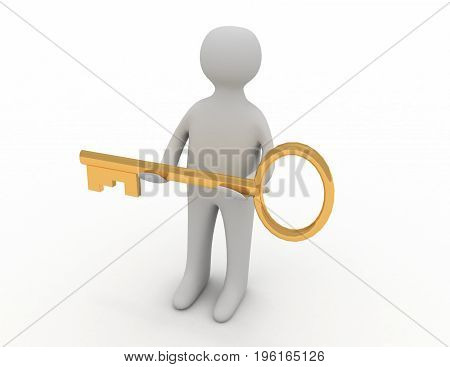 3d man giving golden key to another person . 3d rendered illustration