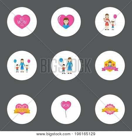 Happy Mother's Day Flat Icon Layout Design With Heart, Emotion And Best Mother Ever Symbols