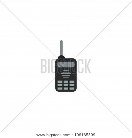 Flat Icon Radio Element. Vector Illustration Of Flat Icon Walkie-Talkie Isolated On Clean Background