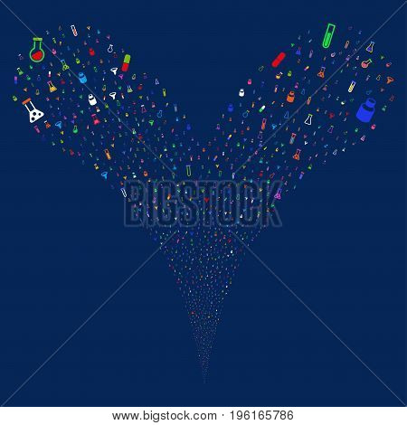 Chemistry Tubes fireworks stream. Vector illustration style is flat bright multicolored iconic chemistry tubes symbols on a blue background. Object fountain done from random symbols.