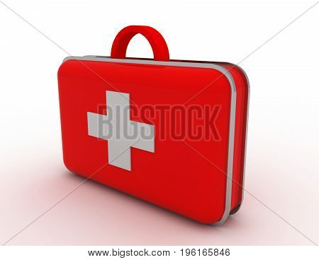 first aid kit . 3d rendered  illustration