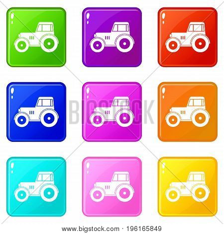 Tractor icons of 9 color set isolated vector illustration