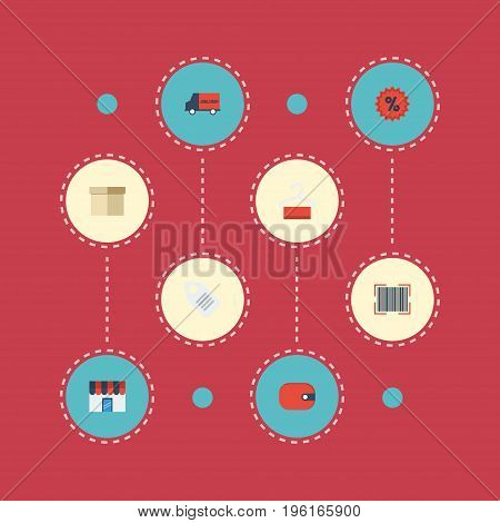 Flat Icons Purse, Label, Qr And Other Vector Elements