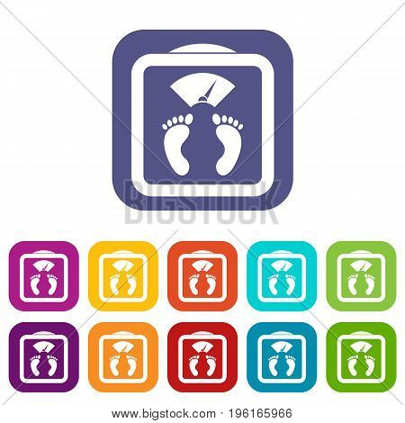 Floor scales icons set vector illustration in flat style in colors red, blue, green, and other
