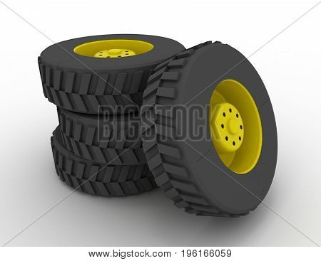truck wheel concept  . 3d rendered  illustration