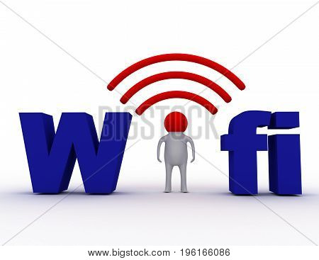 wifi concept man and word fifi . 3d rendered  illustration
