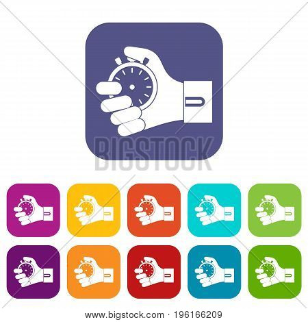Hand holding stopwatch icons set vector illustration in flat style in colors red, blue, green, and other