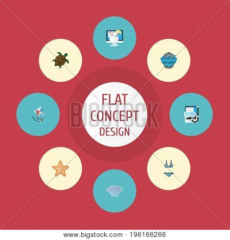 Flat Icons Drink, Beachwear, Sea Star And Other Vector Elements