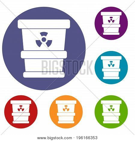 Trashcan containing radioactive waste icons set in flat circle red, blue and green color for web