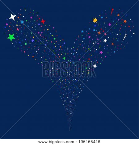 Confetti Stars salute stream. Vector illustration style is flat bright multicolored iconic confetti stars symbols on a blue background. Object fountain made from random pictograms.