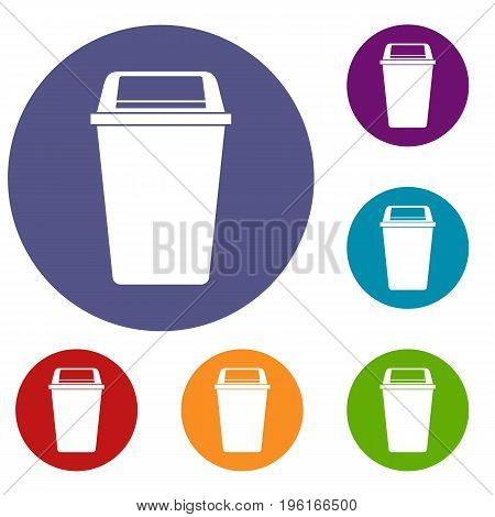 Plastic flip lid bin icons set in flat circle red, blue and green color for web
