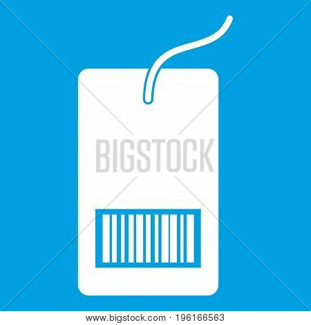Tag with bar code icon white isolated on blue background vector illustration
