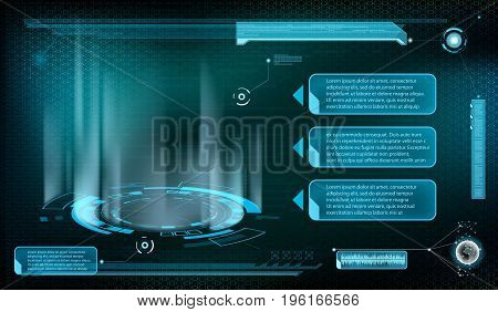 Design of HUD menu user interface. Futuristic dashboard with screen projector devices. Stock vector geometric line illustration.
