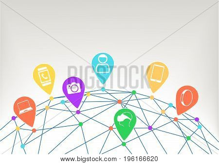 Connected devices with IoT (internet of everything) and network
