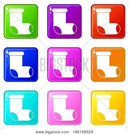 Felt boot icons of 9 color set isolated vector illustration