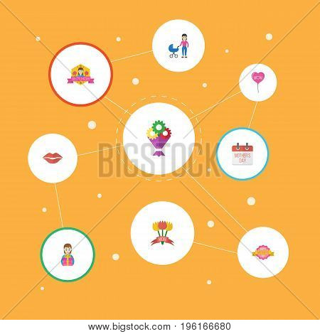 Happy Mother's Day Flat Icon Layout Design With Kiss, Stroller And Flower Symbols