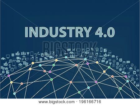 Industry 4.0 vector illustration background. Internet of things