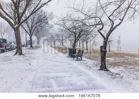 Winter Snow Storm With Person Walking On Sidewalk On West Potomac Park By River