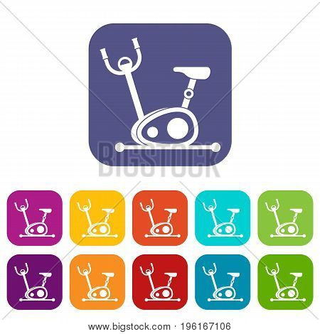 Exercise bike icons set vector illustration in flat style in colors red, blue, green, and other