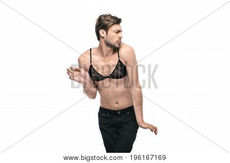Young Handsome Homosexual Man Wearing Womens Bra, Isolated On White