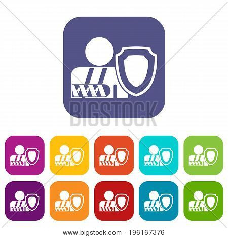 Broken arm and safety shield icons set vector illustration in flat style in colors red, blue, green, and other