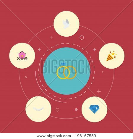 Flat Icons Chariot, Brilliant, Pigeon And Other Vector Elements