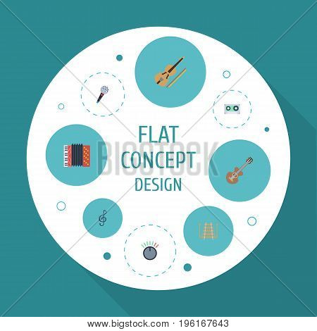 Flat Icons Knob, Fiddle, Tape And Other Vector Elements