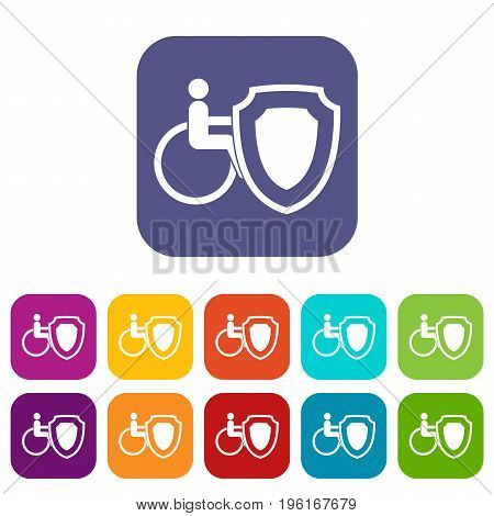 Wheelchair and safety shield icons set vector illustration in flat style in colors red, blue, green, and other