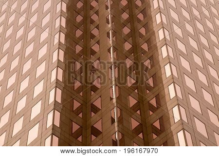 Office building frontal view low angle dusk perspective pattern