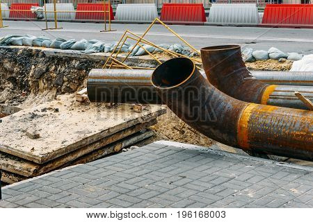 Repair of underground water pipes, iron pipes for replacement
