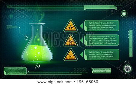 Glass beaker with a poisonous liquid. Container with green chemical. Futuristic interface of scientific analysis. Stock vector illustration.