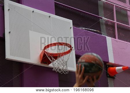 Street basketball close up bright colours ball