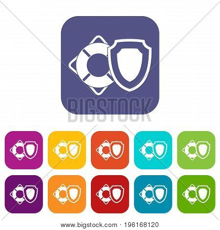 Lifebuoy and safety shield icons set vector illustration in flat style in colors red, blue, green, and other