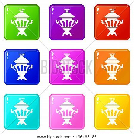 Russian tea samovar icons of 9 color set isolated vector illustration