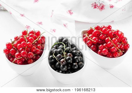 Ripe red and black currants in a white dish on a light background. The horizontal frame.